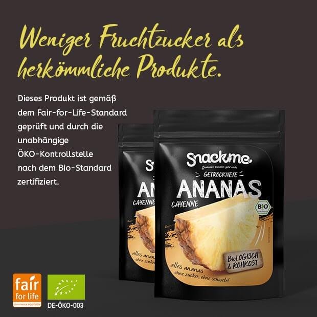 Bio Fair Trade getrocknete Ananas Cayenne