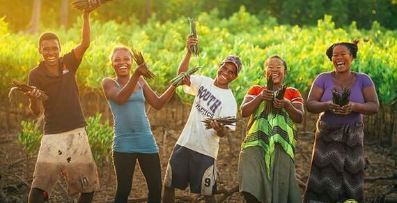 Glückliche Menschen in Madagaskar