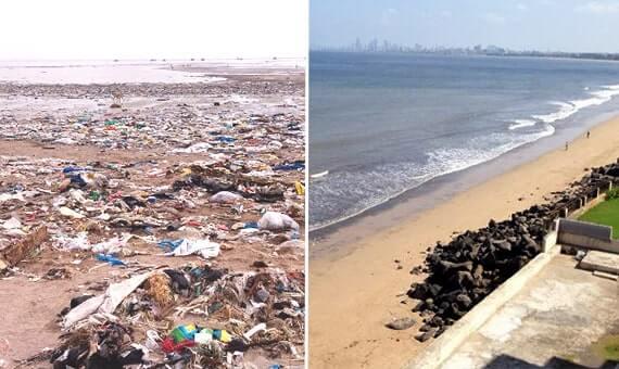 Strand in Mumbai voller Plastikmüll