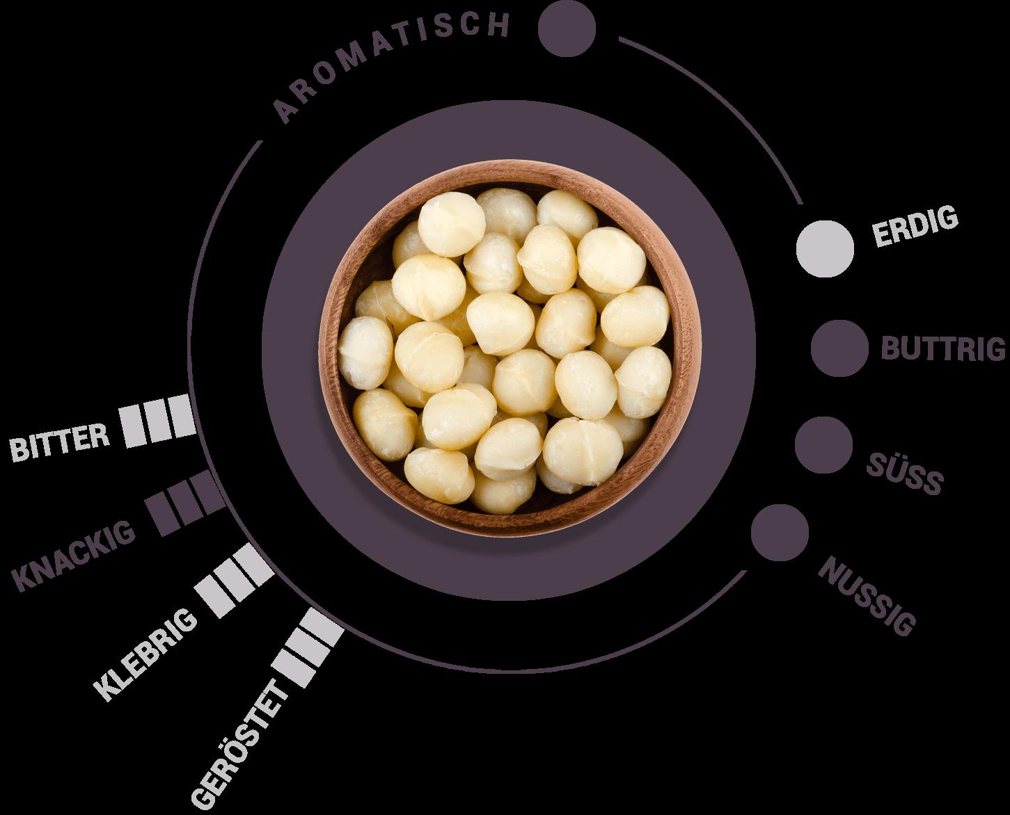 Macadamia Geschmacksrad